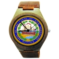 Handmade Wooden Watch Made with Natural Bamboo Wood with State of New Hampshire Seal