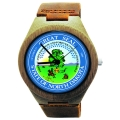 Handmade Wooden Watch Made with Natural Bamboo Wood with State of North Dakota Seal