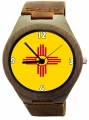 Handmade Kahala Wood Watch made with natural bamboo wood with New Mexico flag