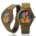 Handmade Kahala Wooden Watch Made with Natural Acacia Koa Wood Cow Hide Band with Hawaiian Artwork - HGW203