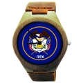 Handmade Wooden Watch Made with Natural Bamboo Wood with State of Utah Flag