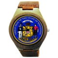 Handmade Wooden Watch Made with Natural Bamboo Wood with State of Wisconsin Seal