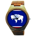 Wooden Watch Made with Natural Bamboo Wood with State of Wyoming Flag