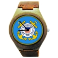 Handmade Wood Watch Made With Natural Bamboo with US Coast Guard Seal