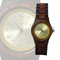 Kahala Handmade Wooden Watch Made with Red and Black Sandalwood - Gold Face