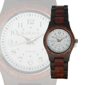 Handmade Wooden Watch Made with Red and Black Sandalwood White Face